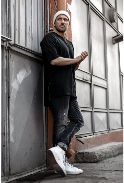 Xhan Siyah Fermuar Detaylı T-Shirt 1KXE1-44339-02