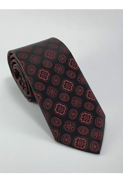 Pierroni Siyah Bordo Desenli Kravat