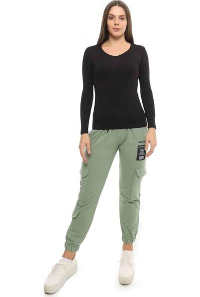 Cazador Cdr 951 V Yaka Uzun Kol Basic Sweatshirt Siyah