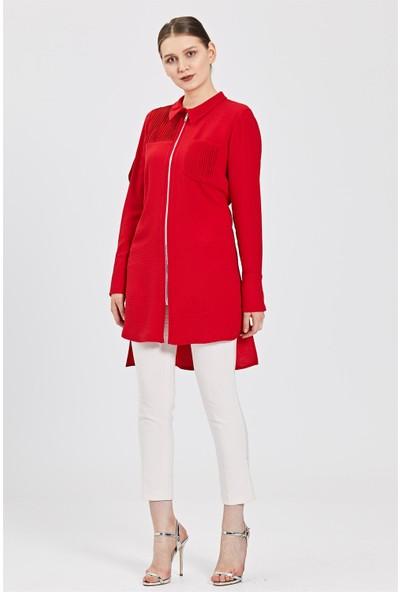 Esswaap Kırmızı Fermuarlı Ceket Tarzı Tunik
