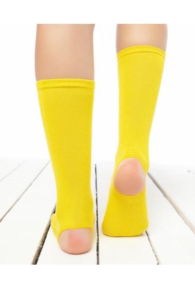 Socks Concept Topuk ve Parmak Açık Kaydırmaz Yoga Çorabı Sarı Renk