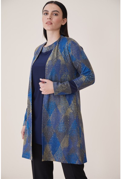 Esswaap Sax - Simli Desenli Bluz Takım