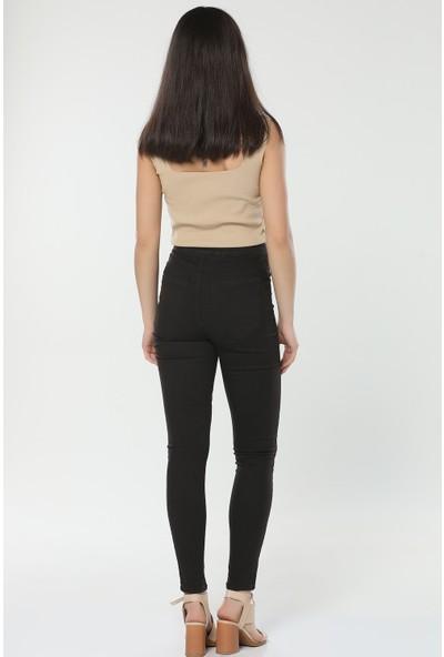 Çiçek Butik Yüksek Bel Dar Paça Kadın Kot Pantolon