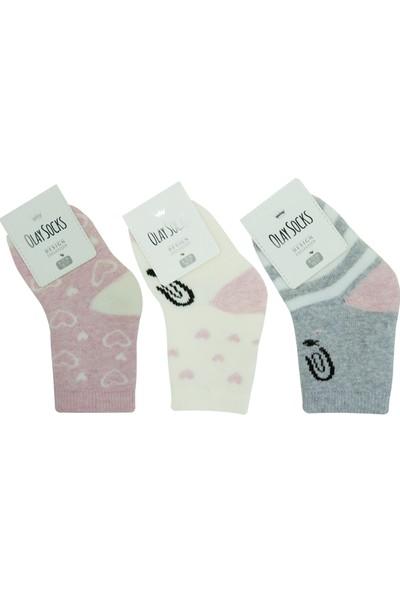 Olay 3'lü Kız Bebek Havlu Soket Çorap