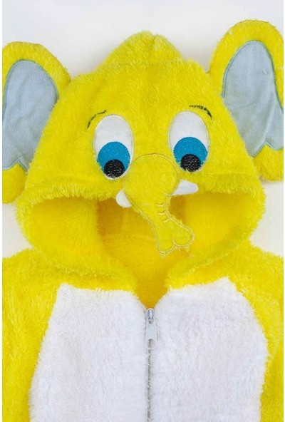 Modakids Sarı Peluş Fil Figürlü Erkek Bebek Tulum