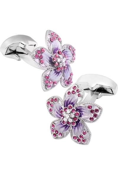 Nilegant Mor Çiçek Kadın Kol Düğmesi