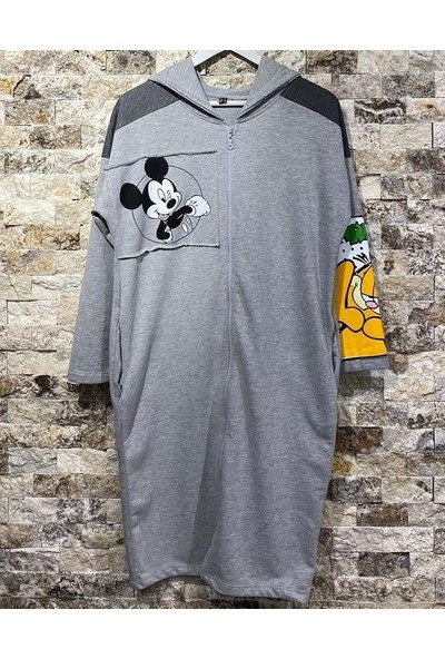 Mint Mickey Mouse Baskılı Sweat Kumaşlı Spor Hırka