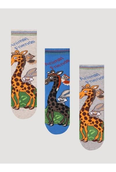 Mem Socks 3'lü Zürafa Desenli Kaydırmaz Havlu Çocuk Çorabı