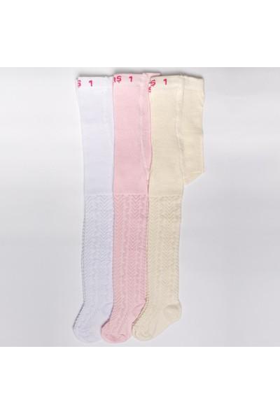 Ilbaş 3'lü Pamuklu Kabartma Desen Kız Çocuk Külotlu Çorap