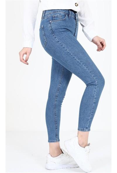 Büyük Beden Toparlayıcı Küçük Gösteren Mavi Kot Pantolon