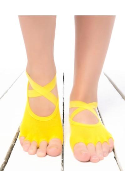 Şerit Lastik ve Kaymaz Tabanlı Parmaksız Yoga Çorabı Sarı Renk