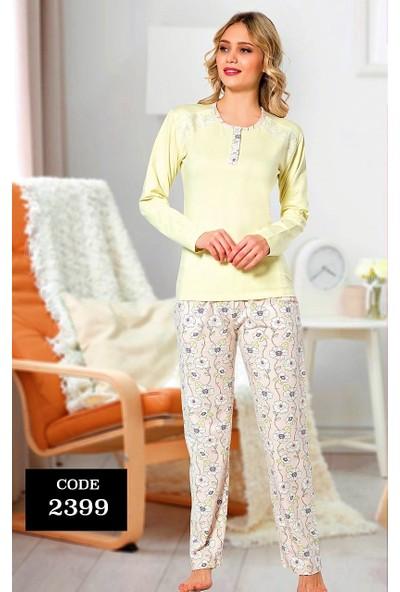 Alimer Uzun Kollu Kadın Kışlık Penye Kadın Pijama Takımı Dantel Omuz