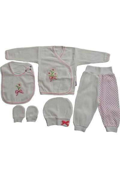Pattic Baby Kız Bebek 5 Parça Müslin Kumaş Hastane Çıkışı Zıbın Takımı