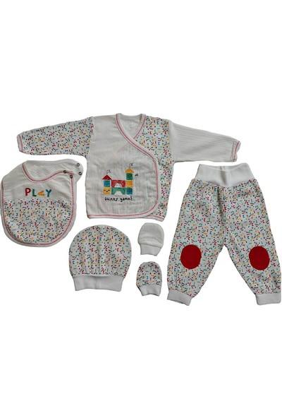 Pattic Baby Erkek Bebek 5 Li Müslin Kumaş Hastane Çıkışı Zıbın Takımı Play