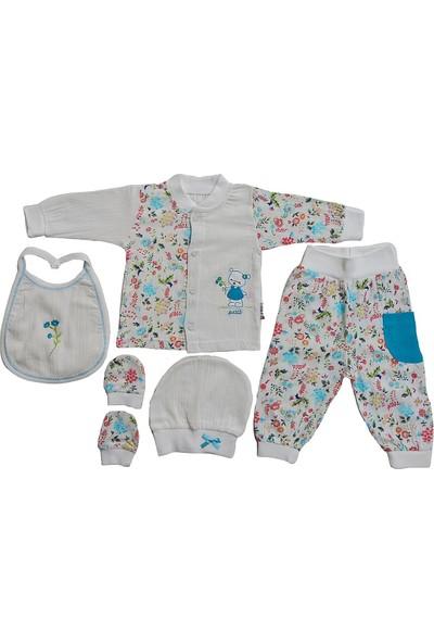 Pattic Baby Kız Bebek Müslin Kumaş 5 Parça Hastane Çıkışı Zıbın Takımı