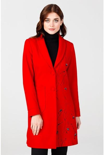 Esswaap Kırmızı - Önü Baskılı Ceket