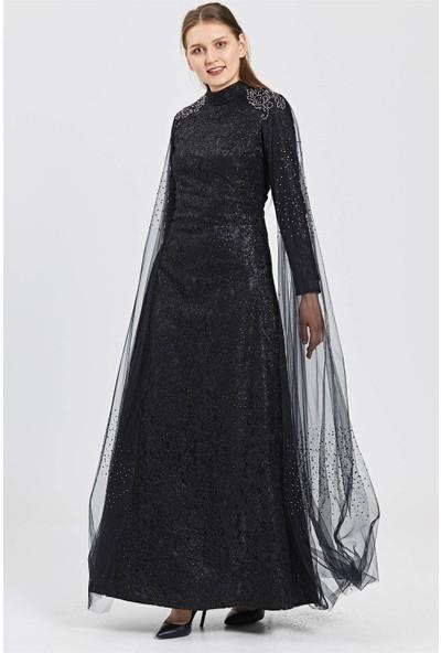 Esswaap Siyah Omuzda Etek Ucuna Uzanan Tül Üzeri Taş Kombinli Dantelli Abiye Elbise
