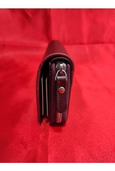 Arı Deri Telefon Sığabilen Bordo El Cüzdanı
