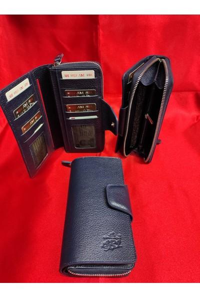 Arı Deri Unisex Telefon Sığabilen Lacivert El Cüzdanı