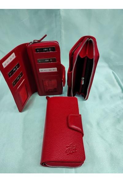 Arı Deri Unisex Telefon Sığabilen Krımızı El Cüzdanı