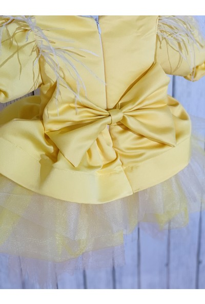 Ellussi Sari Özel Model Kabarik Elbise