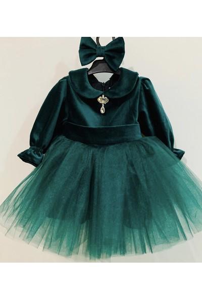Ellussi Yeşil Kadife Tütülü Elbise