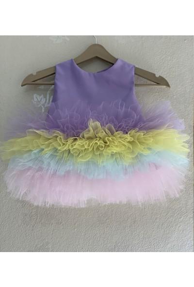 Ellussi Lila Büzglü Kabarik Elbise