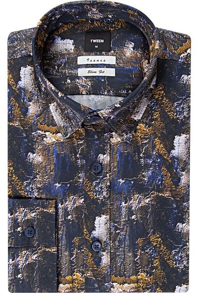 Tween Slim Fit Hardal Desenli Gömlek