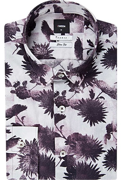 Tween Slim Fit Bordo Desenli Gömlek