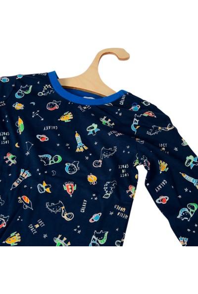 DinoFor Pijama Takımı Kız/erkek Bebek Çocuk Lacivert Dinozor Baskılı Pijama Erketu