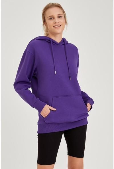 Defacto Kadın Kapüşonlu Regular Fit Sweatshirt