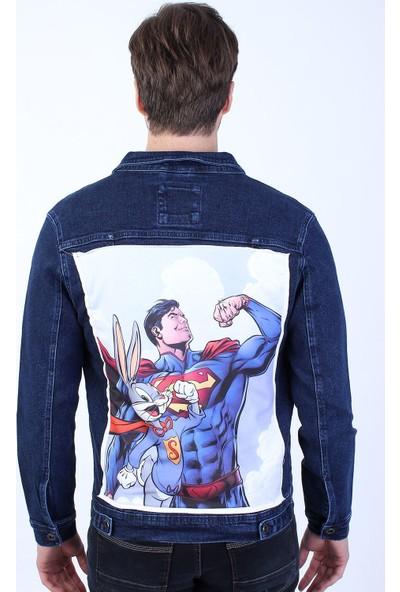 Little Cup Jeans Co Superman Baskili Erkek Lacivert Yikamali Kot Ceket