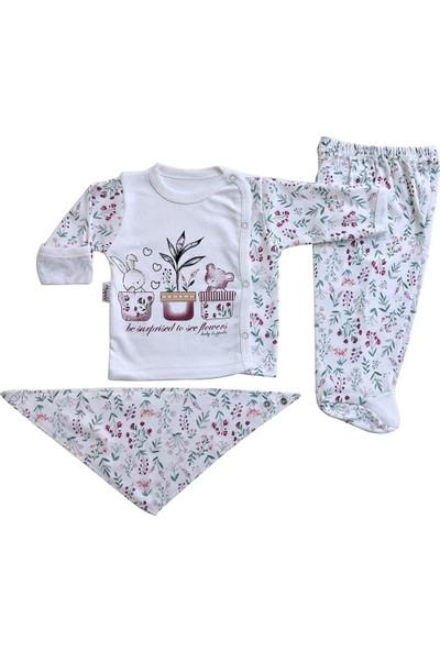 Hoppala Baby Kız Bebek Yeni Doğan Zıbın Takımı 3lü Takım Çiçekli