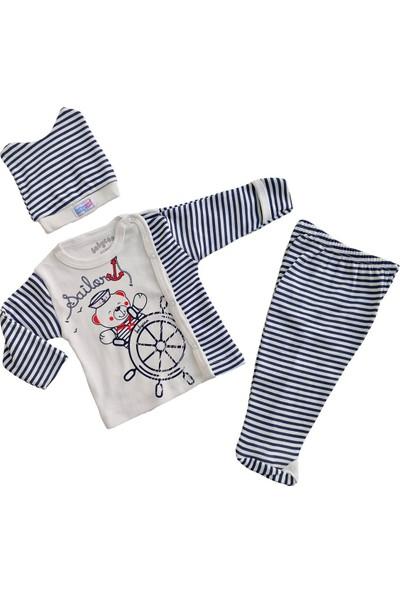 Babycan Erkek Bebek Üçlü Takım Yeni Doğan Zıbın Takımı Denizci Model