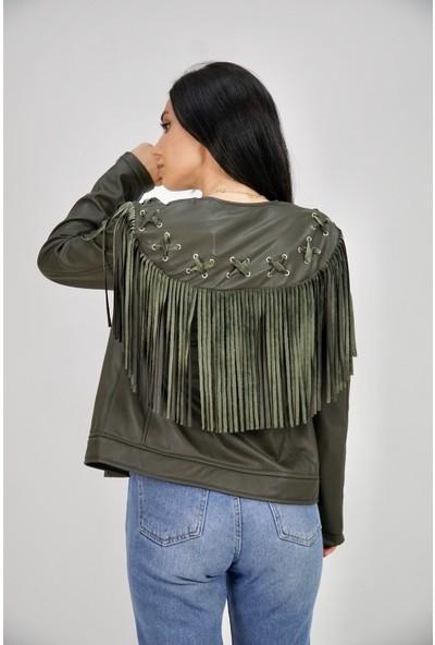 Lilarose Kadın Haki Kuşgözü Detaylı Püsküllü Deri Ceket