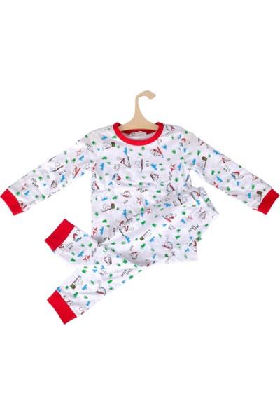 DinoFor Pijama Takımı Kız/erkek Bebek Çocuk Beyaz Dinozor Baskılı Pijama Dollodon