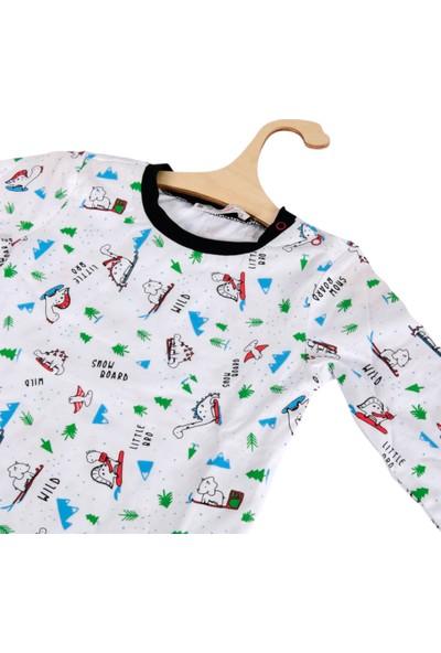 DinoFor Pijama Takımı Kız/erkek Bebek Çocuk Beyaz-Siyah Dinozor Baskılı Pijama Aragosaurus