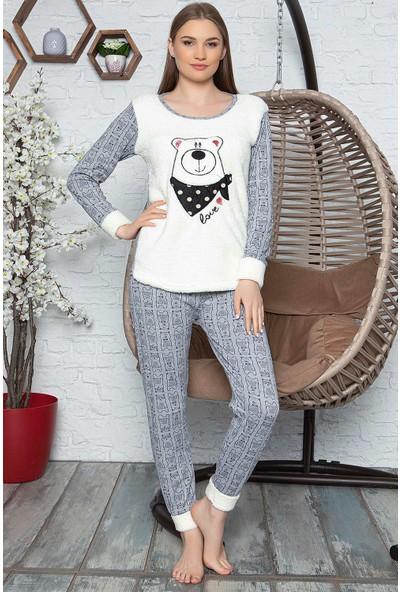 Rinda Bayan Gri Beyaz Uzun Kol Polar Pijama Takımı Rinda 5108