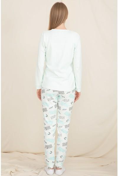 Wesha Bayan Mint Yeşili Uzun Kol Pijama Takımı Wesha 4291