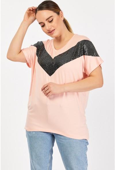 1fazlası Kadın Büyük Beden Pul Payet Işlemeli Günlük T-Shirt