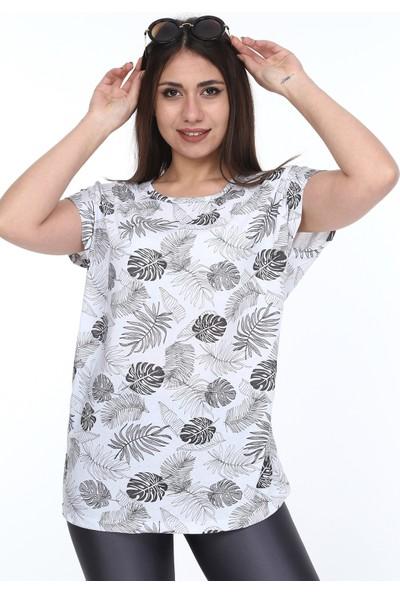 1fazlası Kadın Büyük Beden, Desenli Günlük T-Shirt