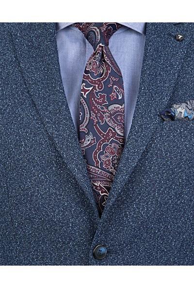Tween Slim Fit Mavi Desenli Kumaş Ceket