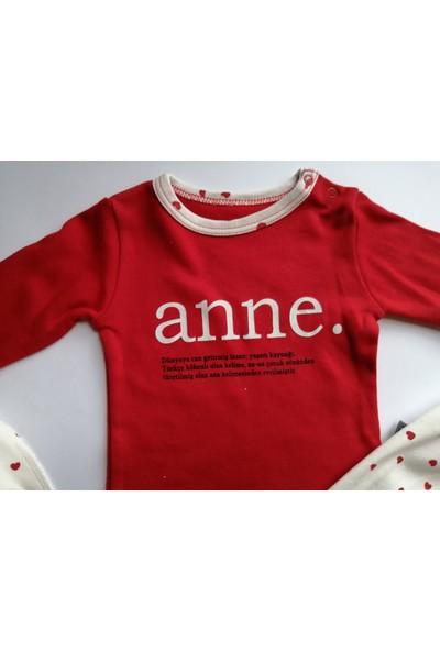 Kız Bebek Kalp Desenli Bebe Yaka Anne Yazılı Önlüklü 3'lü Pijama Takım