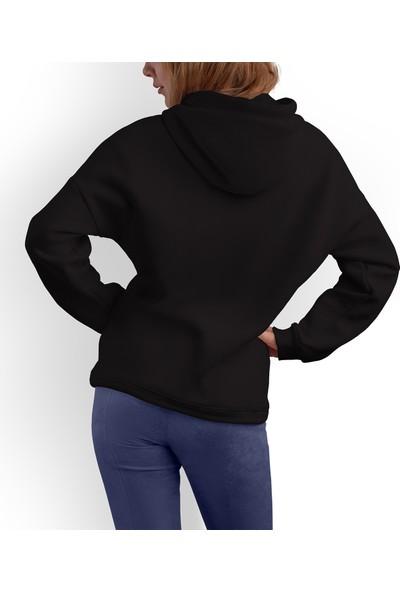 Acr Giyim Siyah Kapüşonlu Belden Oturtmalı Kadın Sweatshirt