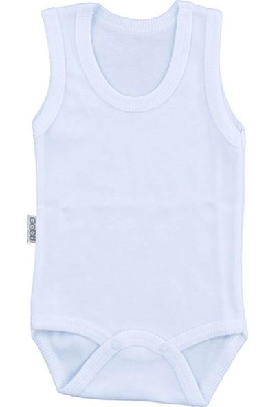 Bebek Beyaz Body Pamuklu Askılı Çıtçıtlı Badi SB155