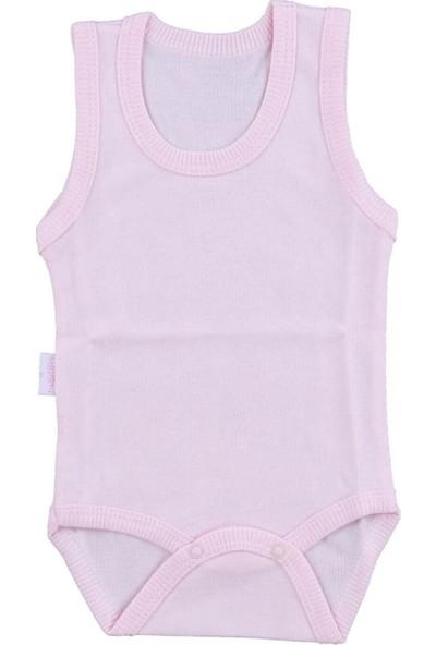 Bebek Pembe Body Pamuklu Askılı Çıtçıtlı Badi SB155