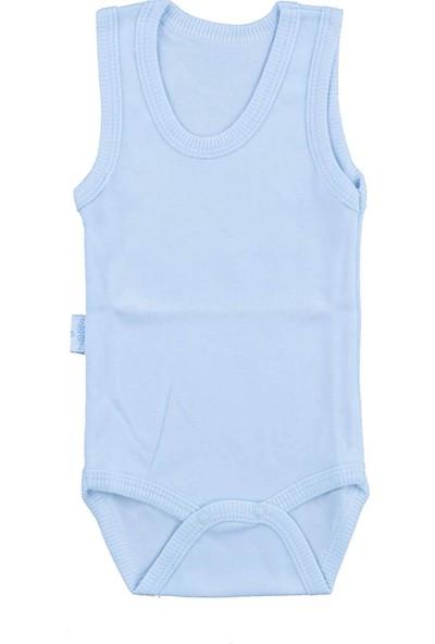 Bebek Mavi Body Pamuklu Askılı Çıtçıtlı Badi SB155
