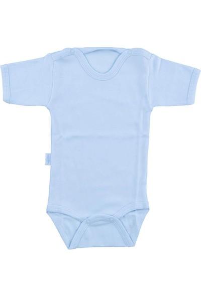 Bebek Mavi Body Pamuklu Yarım Kol Çıtçıtlı Badi SB156