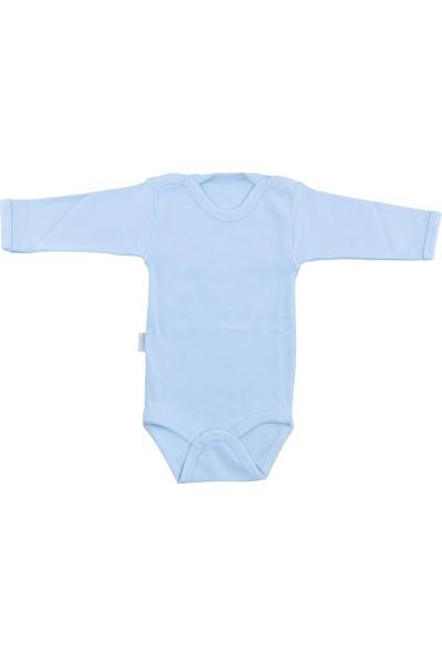 Bebek Mavi Body Pamuklu Uzun Kol Çıtçıtlı Badi SB157
