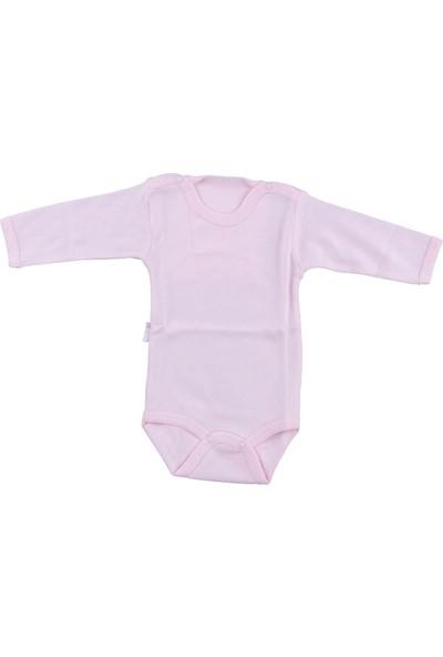 Bebek Pembe Body Pamuklu Uzun Kol Çıtçıtlı Badi SB157